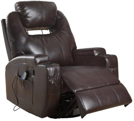 Waterlily Collection 59278 Rocker Recliner with Power Massage  Cup Holder  Side Pocket  Pillow Top Armrest  Pocket Coil Seating  Swivel Function -  Acme Furniture
