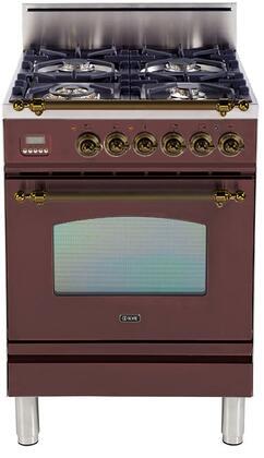Ilve Nostalgie UPN60DVGGRBY Freestanding Gas Range Red, UPN60DVGGRBY Nostalgie Gas Range