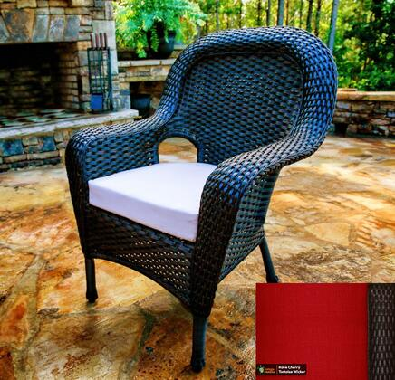 Sea Pines Collection LEX-DC-T-RAVEC Dining Chair in Tortoise Wicker and Rave Cherry Fabric