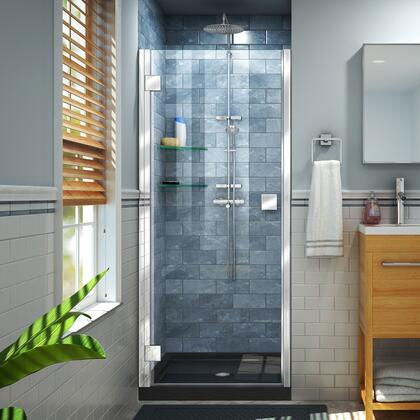 DL-533242-88-01 Lumen 32″ D x 42″ W by 74 3/4″ H Hinged Shower Door in Chrome with Black Acrylic Base