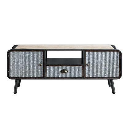 182023 Entertainment Stand W/2 Doors And 1 Drawer  in Washed Fir with Corrugated and Black