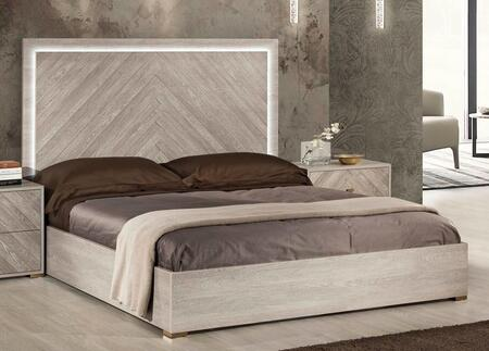 Florence Collection FLORE-KGBED-WOM-25 King Bed with LED Accent Light  Slats Included and Clean-Line Design in Whitened Oak Matt