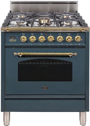 Ilve Nostalgie UPN76DVGGGU Freestanding Gas Range Blue Grey, Blue Grey Gas Range