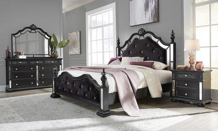 Global Furniture USA Global Furniture USA DIANABLQBDMNS Bedroom Set Black, DIANA BL br set 2