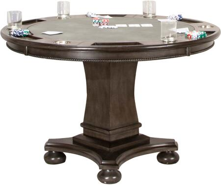 CR-87711-TB Poker Table with Chips Holder  Drinks Holder  Pedestal Base  Wood Veneer Construction and Upholstered  in Dark