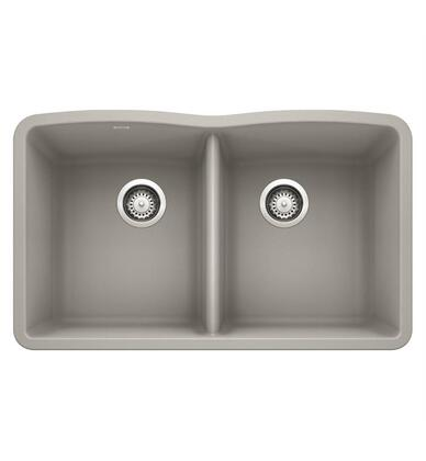 Diamond 442747 Silgranit Undermount Sink Equal Double Sink Bowl  in Concrete