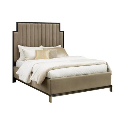 Formosa Collection 222820Q 85.5″ Queen Bed with Upholstered Platform Base  Wood Framed Upholstered Sectioned Headboard and Beautiful Wood Trims in