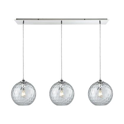 31380/3LP-CLR Watersphere 3 Light Linear Pan Fixture in Polished Chrome with Clear Hammered