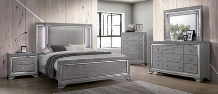 Furniture of America Alanis CM7579EKBEDNSCHDRMR Bedroom Set Gray, CM7579K-BED-NSCHDRMR