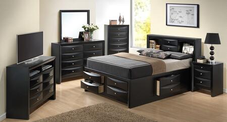 Glory Furniture G1500G G1500GQSB3NTV Bedroom Set Black, Main Image
