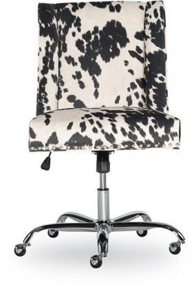 Linon Draper 178404BLK01U Office Chair, 178404BLK01U Draper Office Chair Udder Madness Black Chrome Base Lifestyle
