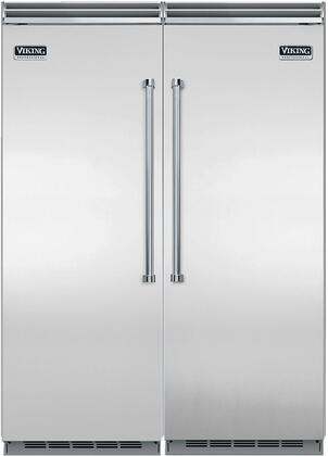 Viking 60 Inch Built In Side By Side Refrigerator And Freezer Set With Vcrb5303rss 30 Inch Right Hinge Refrigerator Vcfb5303lss 30 Inch Left Hinge Freezer And Trim Kit In Stainless Steel Appliances Connection