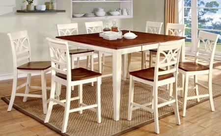 Furniture of America Torrington II CM3552WCPT8PC Dining Room Set White, main image