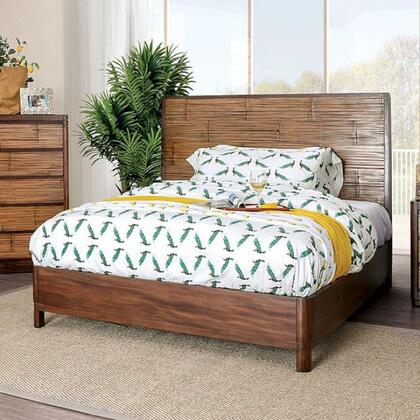 Covilha Collection CM7522EK-BED King Size Bed With Sturdy Wood Construction  Panel Headboard In Antique