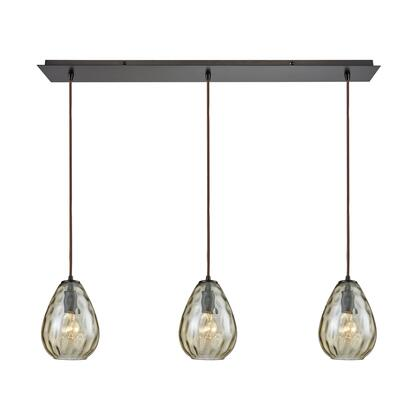 10780/3LP Lagoon 3-Light Linear Pan in Oil Rubbed Bronze with Champagne Plated Water Glass
