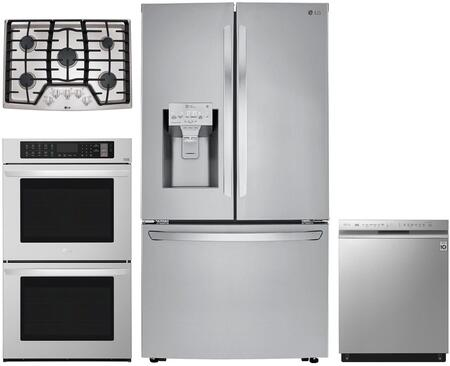 4 Piece Kitchen Appliances Package with LRFXC2406S 36″ French Door Refrigerator  LWD3063ST 30″ Electric Double Wall Oven  LCG3011ST 30″ Gas Cooktop