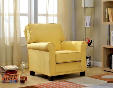 Furniture of America Belem CMAC6056YW Accent Chair Yellow, CM-AC6056YW