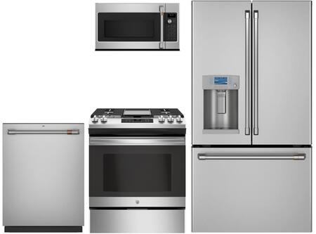 4 Piece Kitchen Appliances Package with CYE22TP2MS1 36″ French Door Refrigerator  CGB550P2MS1 30″ Gas Range  CVM517P2MS1 30″ Over the Range Microwave
