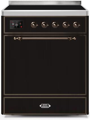 Ilve Majestic II UMI30QNE3BKB Freestanding Electric Range Black, UMI30QNE3BKB-Front-CD-A