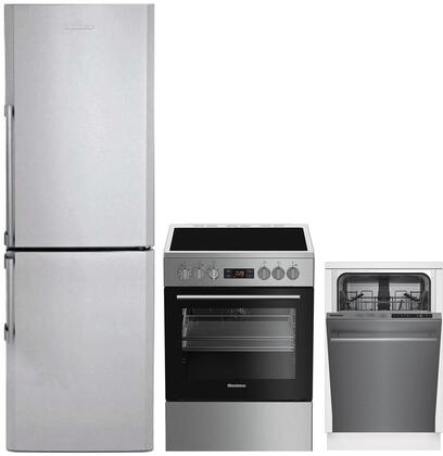 """3 Piece Kitchen Appliances Package with BRFB1322SS 24"""" Bottom Freezer Refrigerator BERU24102SS 24"""" Electric Range and DWS51502SS 18"""" Built In Fully"""