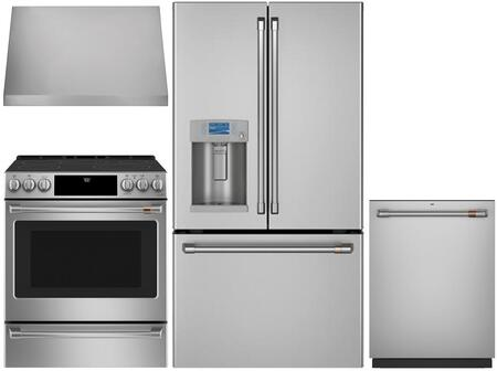 4 Piece Kitchen Appliances Package with CYE22TP2MS1 36″ French Door Refrigerator  CES700P2MS1 30″ Slide-in Electric Range  CVW93012MSS 30″ Wall Mount