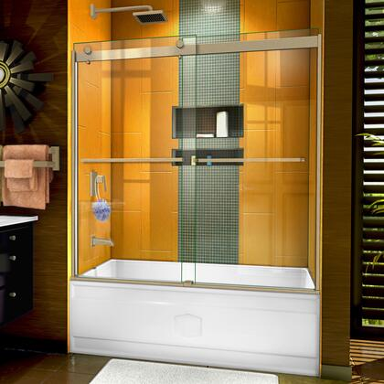 SHDR-6360602-04 Sapphire 56-60″ W x 60″ H Semi-Frameless Bypass Tub Door in Brushed