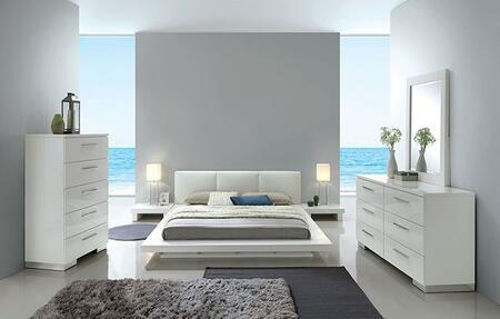 Furniture of America Christie CM7550EKBEDNSCHDRMR Bedroom Set White, CM7550EK-BED-NSCHDRMR