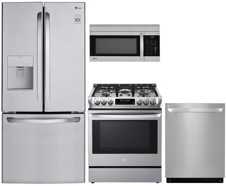 4 Piece Kitchen Appliances Package with LFDS22520S 30″ French Door Refrigerator  LRG3194ST 30″ Gas Range  LDT5678ST 24″ Fully Integrated Dishwasher