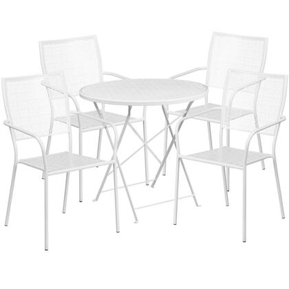 CO-30RDF-02CHR4-WH-GG 30″ Round White Indoor-Outdoor Steel Folding Patio Table Set with 4 Square Back
