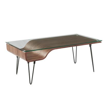 Avery Collection CT-AVERYWL Coffee Table with Tempered Glass Top  Mid-Century Modern Style and Hairpin Legs in Walnut