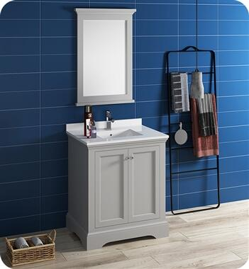 Windsor Collection FVN2430GRV 30″ Grey Textured Traditional Bathroom Vanity with