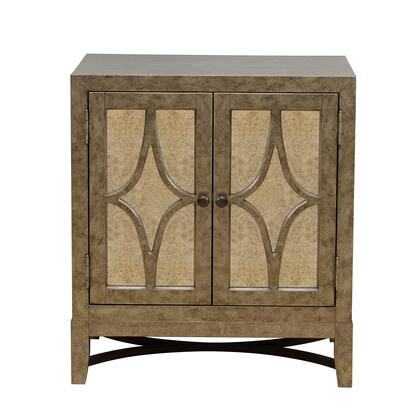 DS-C063-010 Two Door Mirrored Accent Chest in Antiqued