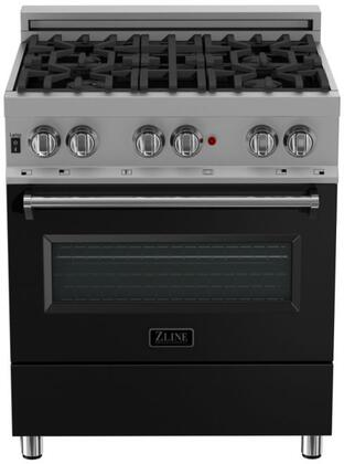 RAS-BLM-30 30″ Black Matte Professional Natural Gas Dual Fuel Range with 4 Italian Burners  4 cu. ft. Capacity Oven  Cast Iron Grates and Dual