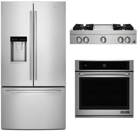 """3 Piece Kitchen Appliances Package with JFFCC72EFS 36"""" French Door Refrigerator JGCP536HL 36"""" Gas Cooktop and JJW2430DP 30"""" Electric Single Wall"""