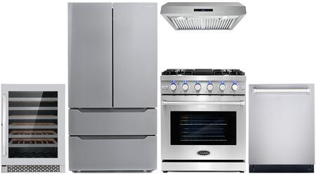 Cosmo  COS5PKG094 Kitchen Appliance Package Stainless Steel, COS 5PKG 094