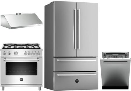 4 Piece Kitchen Appliances Package with REF36X 36″ French Door Refrigerator  MAST365DFMXE 36″ Dual Fuel Range  KU36PRO1X14 36″ Wall Mount Convertible