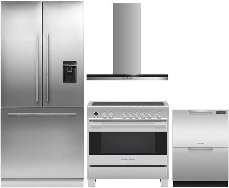4 Piece Kitchen Appliances Package with RS36A80U1N 36″ French Door Refrigerator  OR36SDI6X1 36″ Electric Range  HC36DTXB2 36″ Wall Mount Convertible