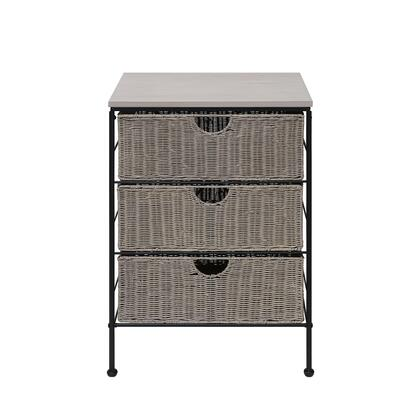 266069 Autumn Grey 3 Drawer Chest W/Wood Top  Wicker And Metal  in Grey Wicker and Black