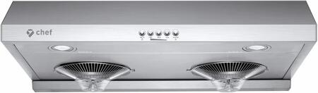 UC-C100SS-30 30″ C100 Under Cabinet Range Hood with 700 CFM  3 Fan Speeds and LED Lighting in Stainless