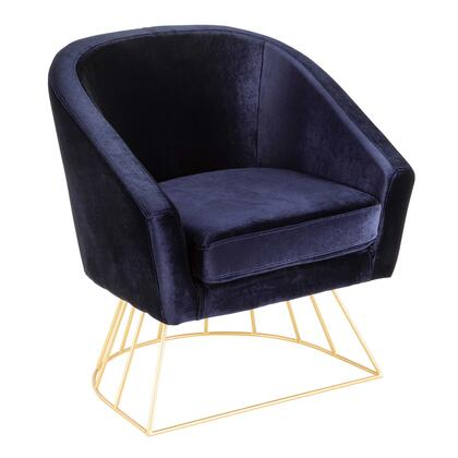 Canary Collection CH-CNRYAU+BU Tub Chair with Fabric Upholstery  Glam/Contemporary Style  Cage-Like Gold Tone Metal Base and Curved Backrest in Royal