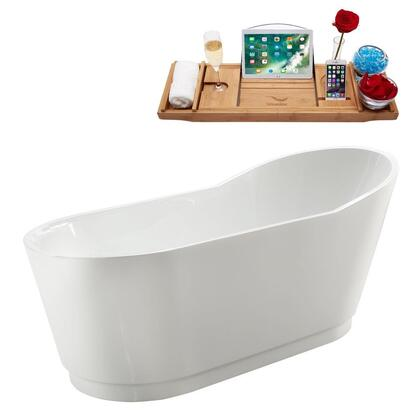 M-2320-67FSWH-DM 67″ Soaking Freestanding Tub and Tray With Internal Drain in White