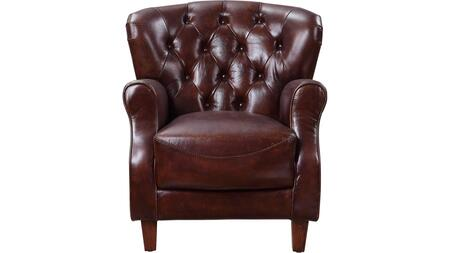 Brancaster Collection 59830 Accent Chair  Top Grain Leather  Tight Back & Seat Cushions  Full Foam Seat  Wooden Inner Frame  Rolled Armrest  Wingback