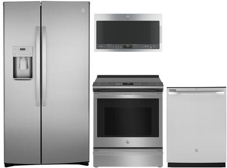 JS760ELES 30 Slide-In Electric Range GE 4-Piece Kitchen Package with GSE25HMHES 36 Side by Side fridge JVM3160EFES 30 Over-the-Range Microwave and GDF530PMMES 24 Full Console Dishwasher in Slate