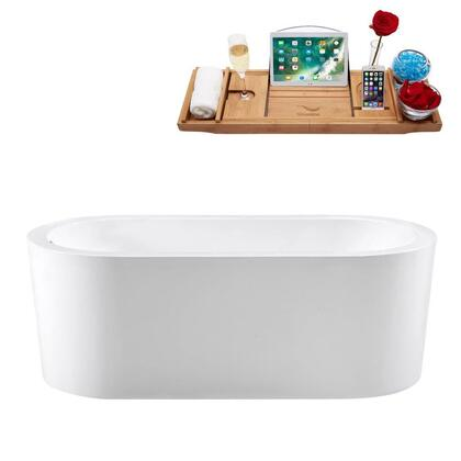 M-2080-67FSWH-FM 67″ Soaking Freestanding Tub and tray With Internal Drain in
