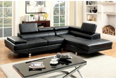 Furniture of America Kemina CM6833BKSET Sectional Sofa Black, Main Image