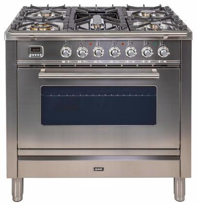 Ilve Professional Plus UPW90FDVGGIX Freestanding Gas Range Stainless Steel, UPW90FDVGGI Professional Plus Gas Range