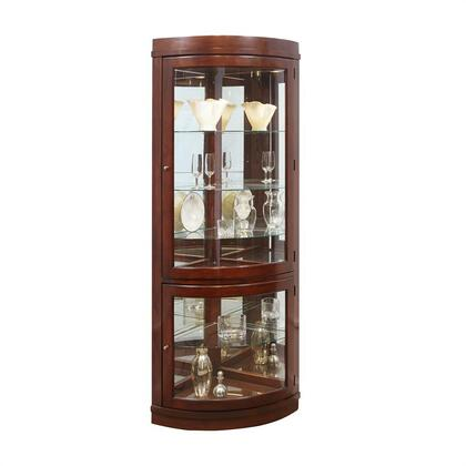 20852 Curio with Adjustable Glass Shelves  Hinged Doors and Mirrored Back Chocolate Cherry