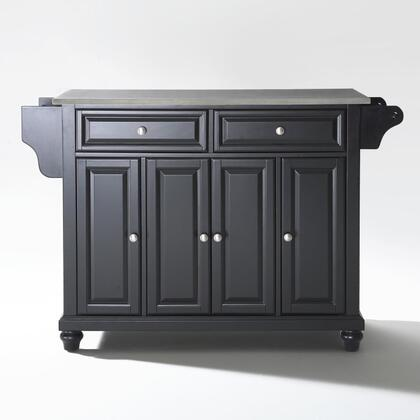 Cambridge Collection KF30002DBK Stainless Steel Top Island/Cart in Black