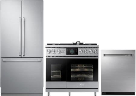 """3-Piece Kitchen Appliances Package with DRF367500AP 36"""" French Door Refrigerator DOP48M96DAS 48"""" Freestanding Gas Range and DDW24M999US 24"""" Built-In"""