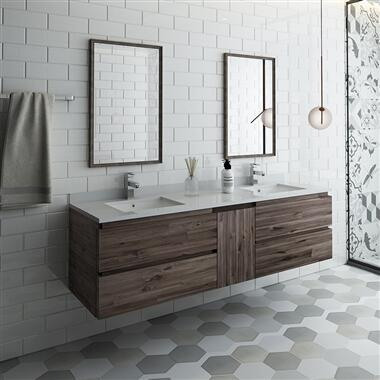 Formosa Collection FVN31-241224ACA 60″ Wall Hung Double Sink Modern Bathroom Vanity with